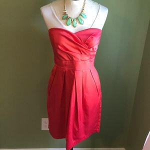 Coral Strapless Cocktail Dress